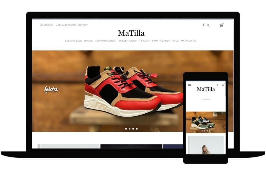 Referanse av hvordan MaTilla sin nettside ser ut på pc og mobil